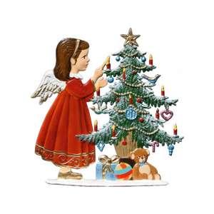 Engel mit Tannenbaum 9x9 cm