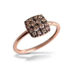 Ring eckig Roségold 750 braune Diamanten 0,34 ct W52
