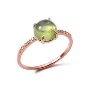 Ring Rosegold 750/- Peridot 1,55 ct Diamaten 0,05 ct G S W54