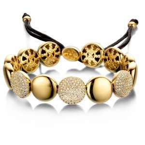 Armband breit Gold Zirkonia Sterlingsilber