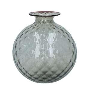 Vase 20,5 cm grau, roter Faden