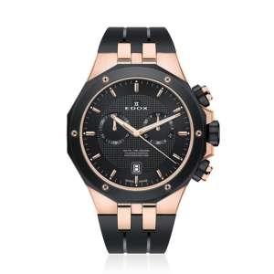 Armbanduhr Delfin Chronograph rose PVD/schwarz