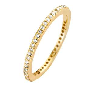 Ring Gold Zirkonia Rustic 1,5 mm Sterlingsilber