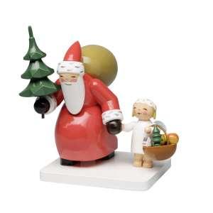 Weihnachtsmann m. Baum und Engel