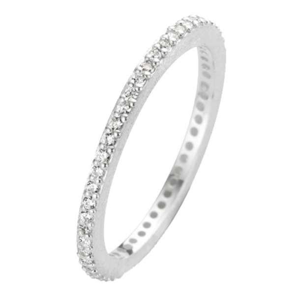 Ring Silber Zirkonia Rustic 1,5 mm Sterlingsilber