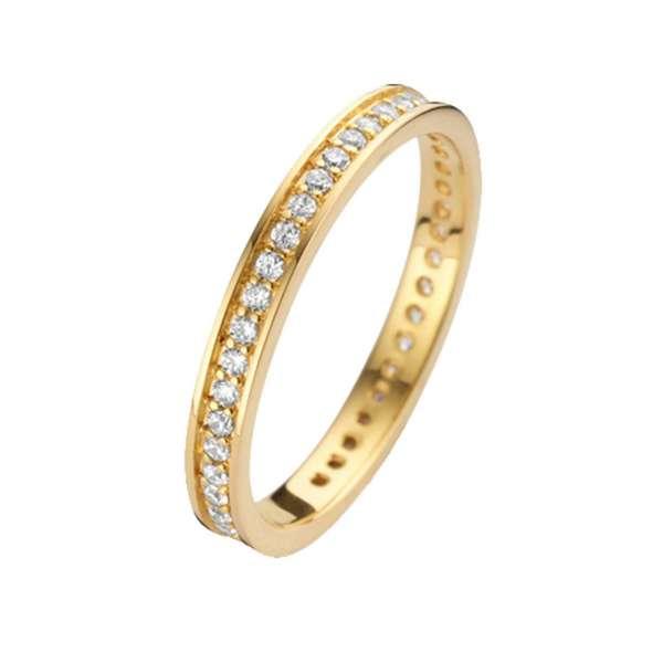Ring Gold Zirkonia 2 mm Sterlingsilber