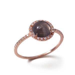 Ring Roségold 750 Rauchquarz 1,5 ct Diamanten 0,13 ct G SI W55