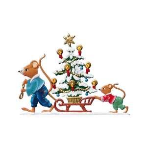 Mäuse ziehen Weihnachtsbaum 6x7 cm