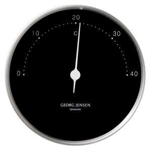Thermometer 10 cm schwarz/chrom