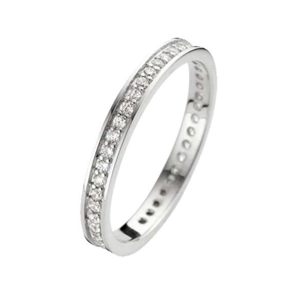 Ring Silber Zirkonia 2 mm Sterlingsilber