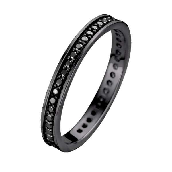 Ring Schwarz Zirkonia 2 mm Sterlingsilber