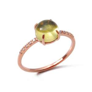 Ring Roségold 750/- Citrin 1,5 ct Diamanten 0,05 ct G SI W55
