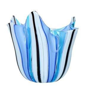 Vase 24 cm blau/weiß gestreift