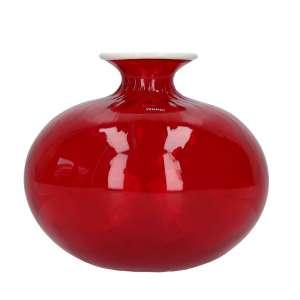 Vase 18 cm rot/milchweißer Faden