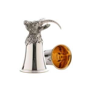 Tierkopfbecher Steinbock H 13 cm Sterling Silber