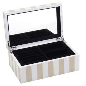 Schmuckbox klein Stripes beige/weiss