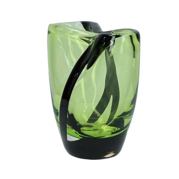 Vase 20 cm kristall/grasgrün/schwarz