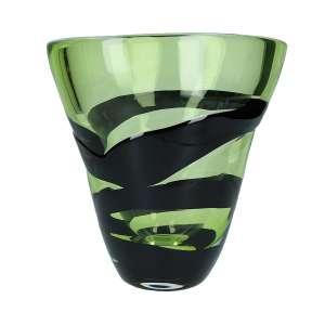 Vase 29 cm kristall/grasgrün/schwarz