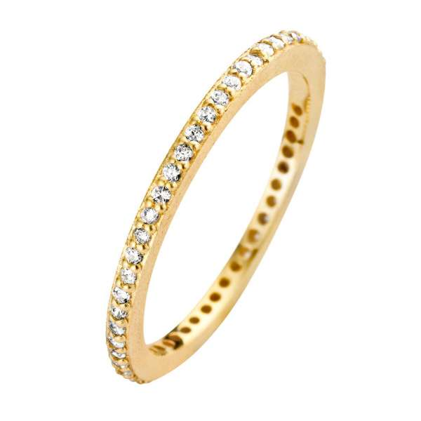 Ring Gold Zirkonia Rustic 1,5 mm Sterlingsilber