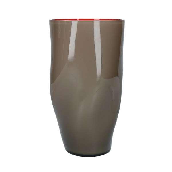 Vase 28 cm grau/rot