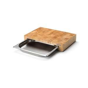 Multifunktionsbrett mit Edelstahl-Schublade, Stirnholz 39x27x6,5 cm