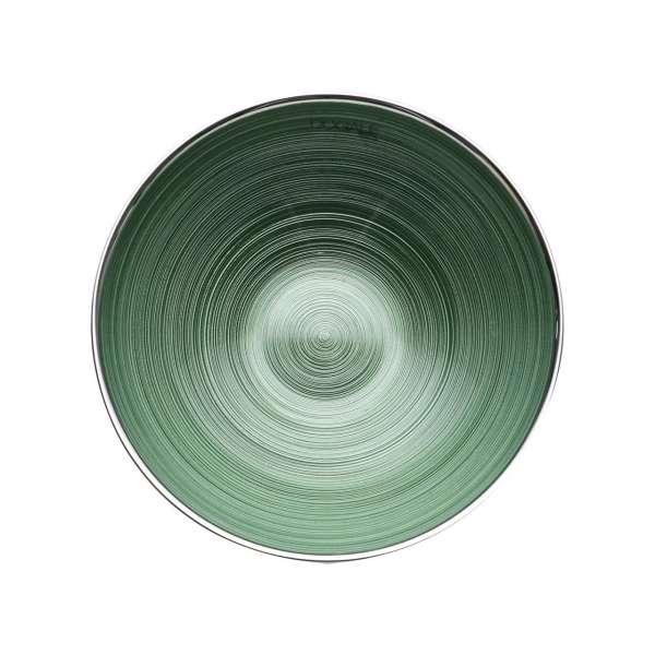 Schale 21 cm grün versilbert