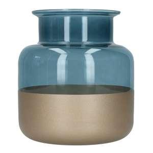 Zylindervase rauchblau/bronze, Ø18,5 cm, H20 cm