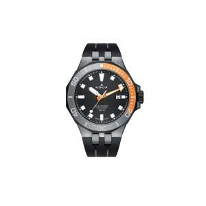 Armbanduhr Delfin schwarz/orange Quarz