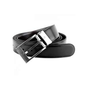 Wendegürtel Dornschließe schnittkantig, schwarz/braun