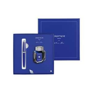 Füllfederhalter M + Tintenfass Set Léman ultramarinblau