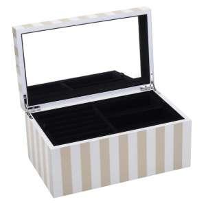 Schmuckbox mittel Stripes beige/weiss