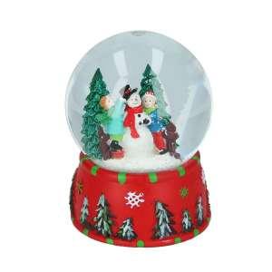 Schneekugel rot Schneemann bauen