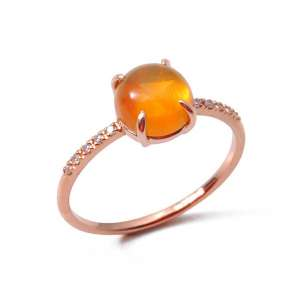 Ring Roségold 750/- Feueropal1,2 ct Diamanten 0,05 ct G SI W55