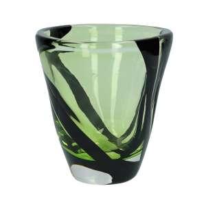 Vase 18 cm kristall/grasgrün/schwarz