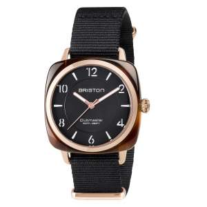 Armbanduhr Clubmaster Chic schwarzes Zifferblatt Acetat/Rosegold PVD