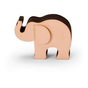 Elefant groß Naturleder mit 12 Buntstiften