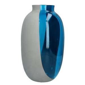 Vase 38 cm aquamarin/zement grau
